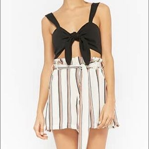 Lush Paperbag Waist Tie Pleated Shorts